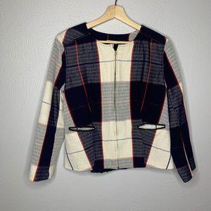Target Merona navy blue white red plaid jacket